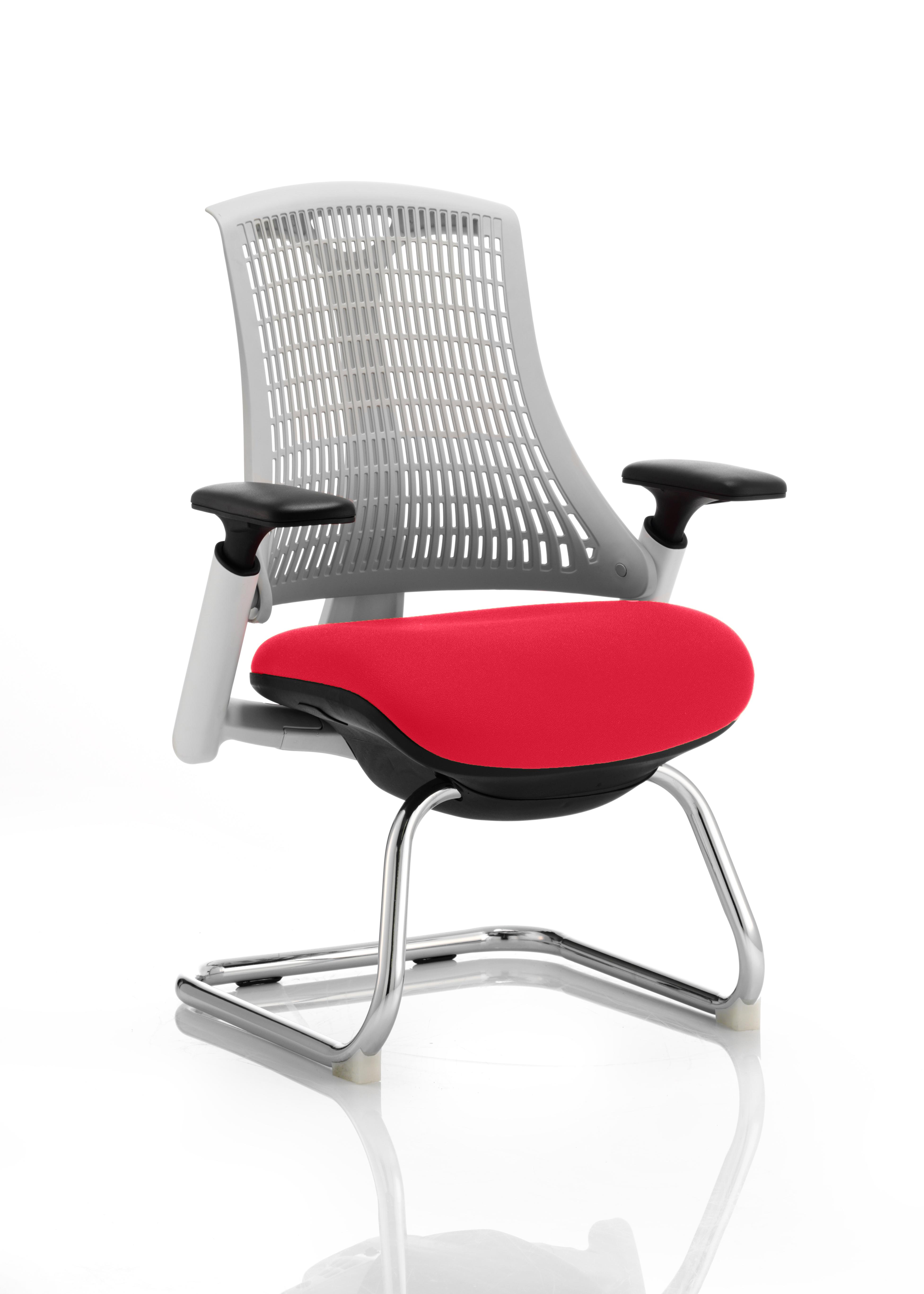Flex Cantilever Chair White Frame White Back Bespoke Colour Seat Bergamot Cherry