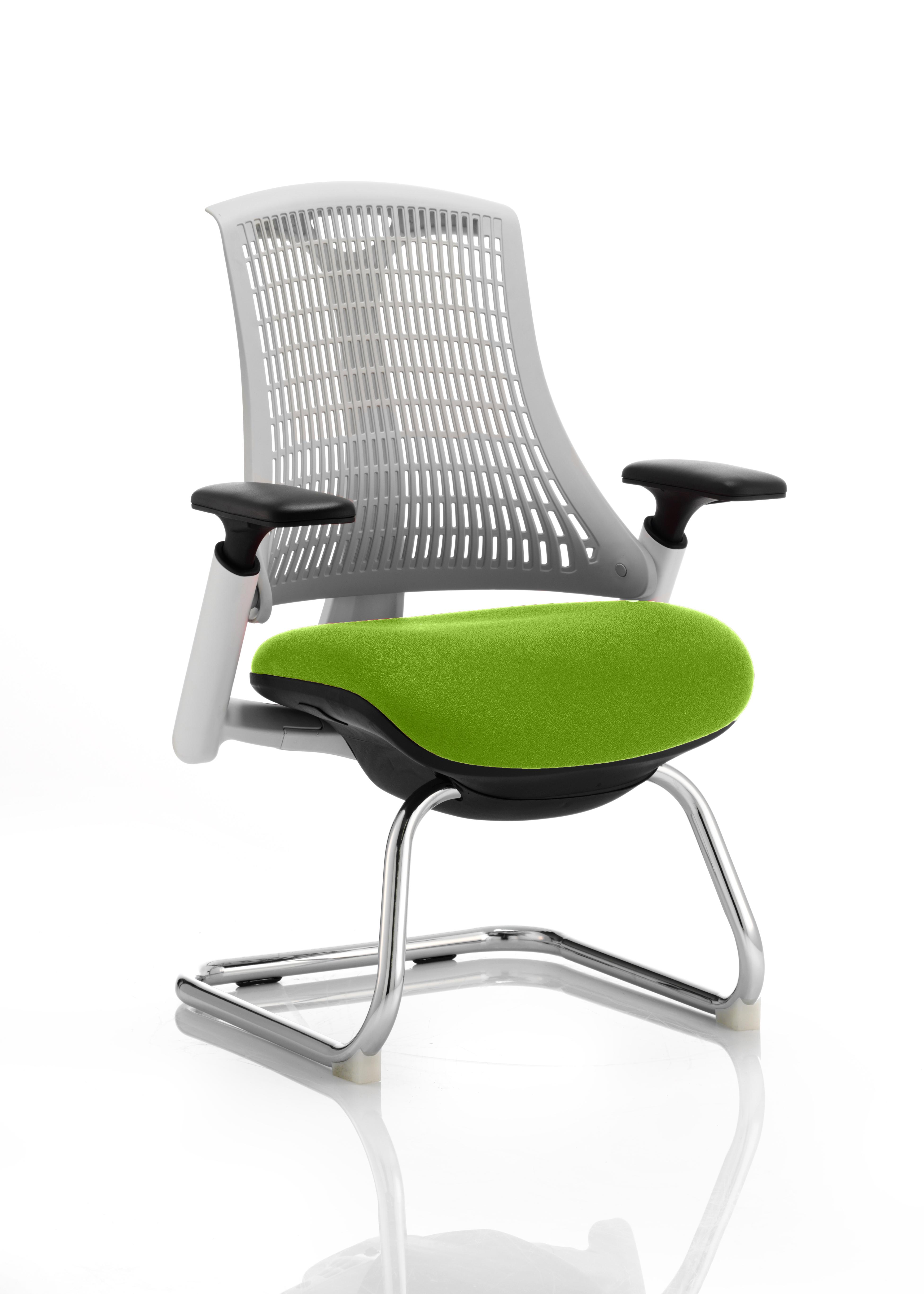 Flex Cantilever Chair White Frame White Back Bespoke Colour Seat Myrrh Green