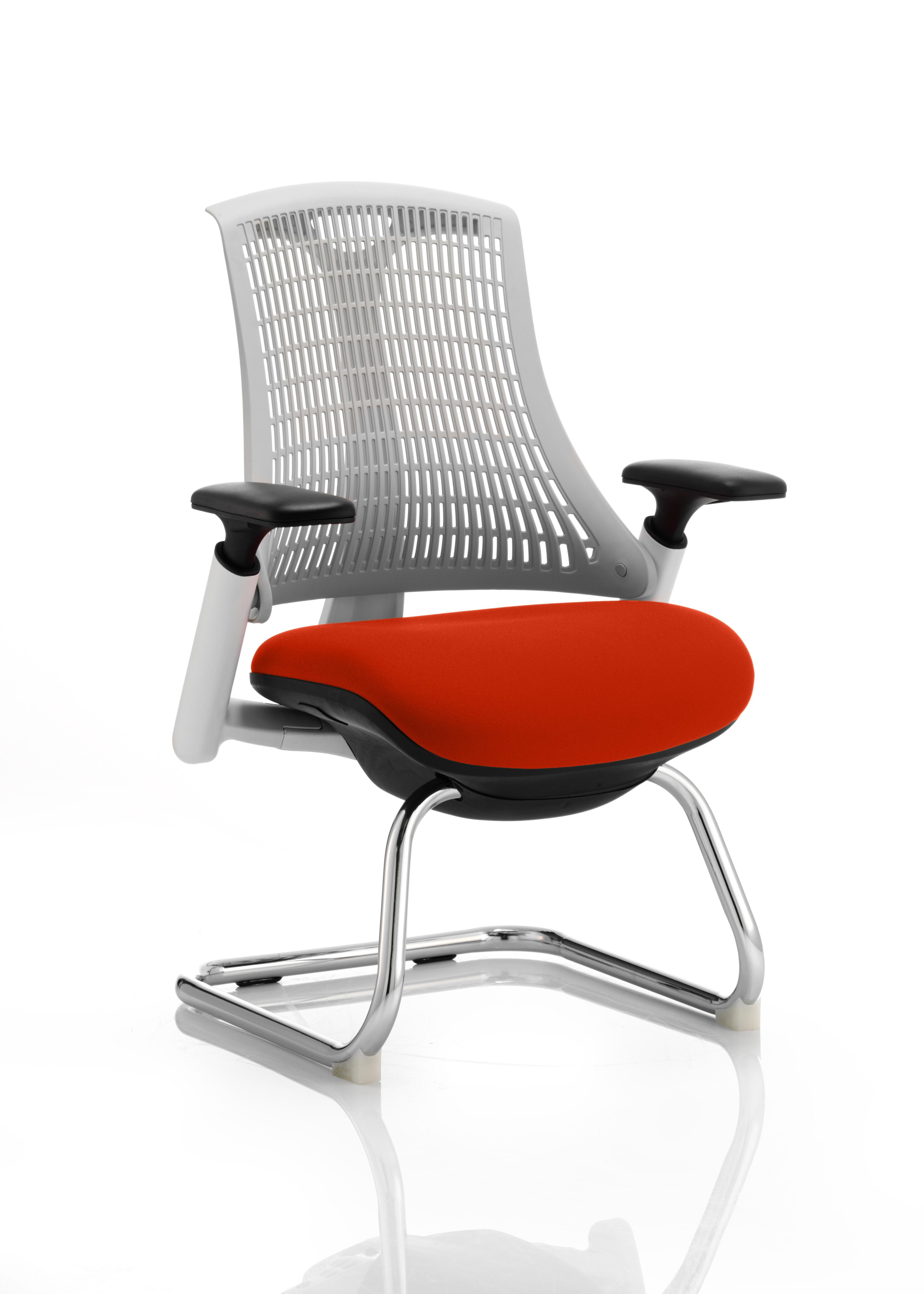Flex Cantilever Chair White Frame White Back Bespoke Colour Seat Tabasco Red