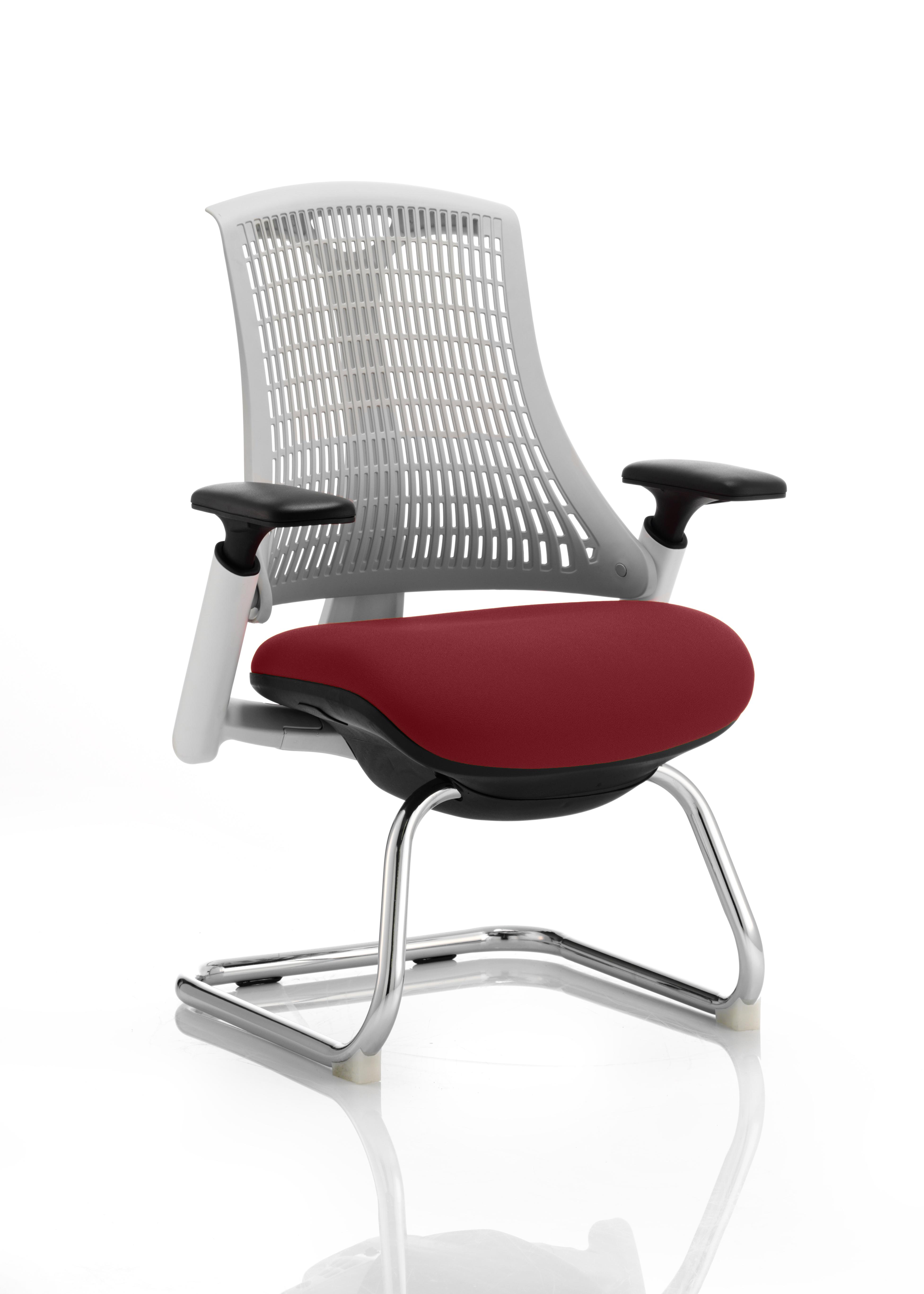 Flex Cantilever Chair White Frame White Back Bespoke Colour Seat Ginseng Chilli