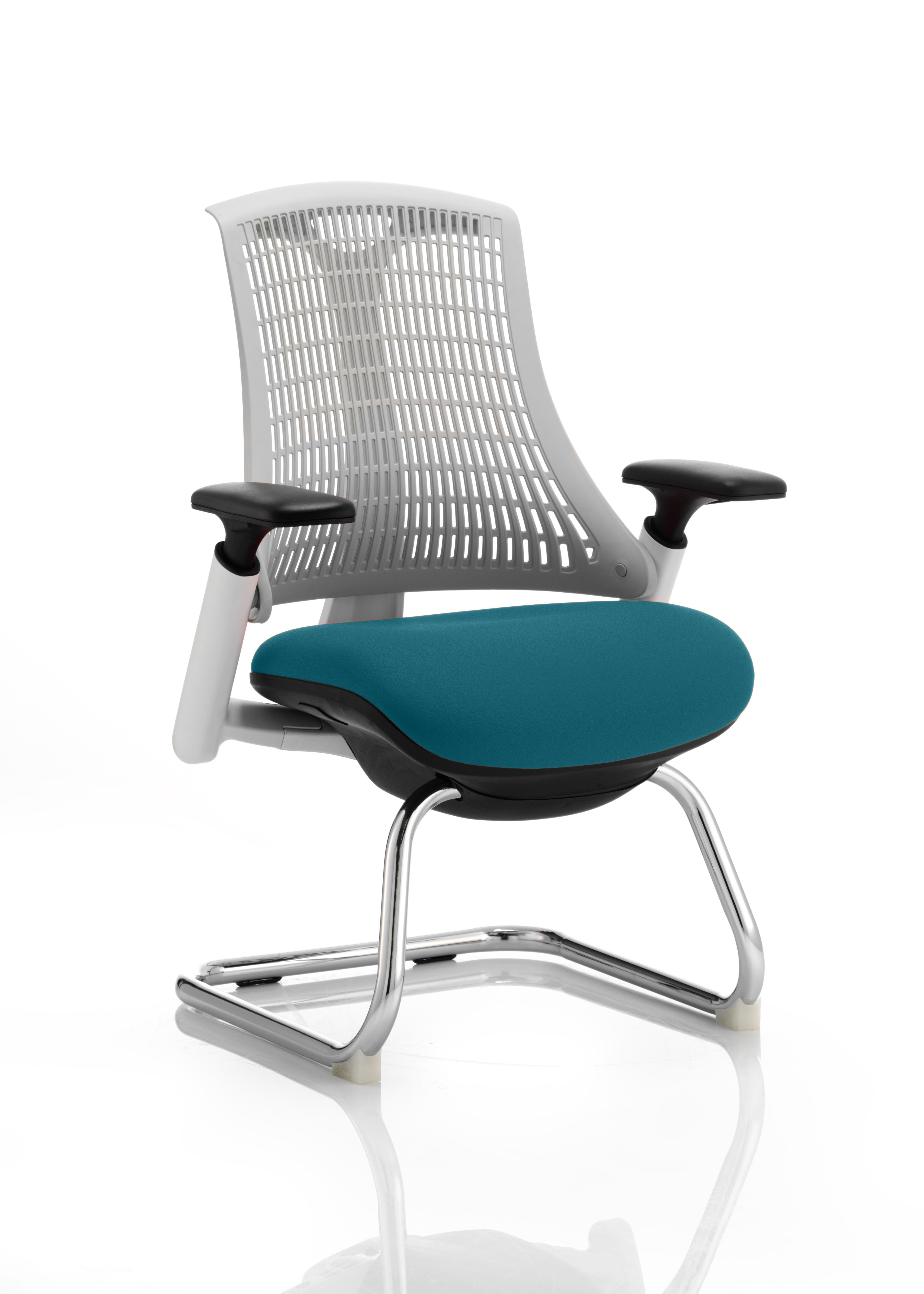 Flex Cantilever Chair White Frame White Back Bespoke Colour Seat Maringa Teal