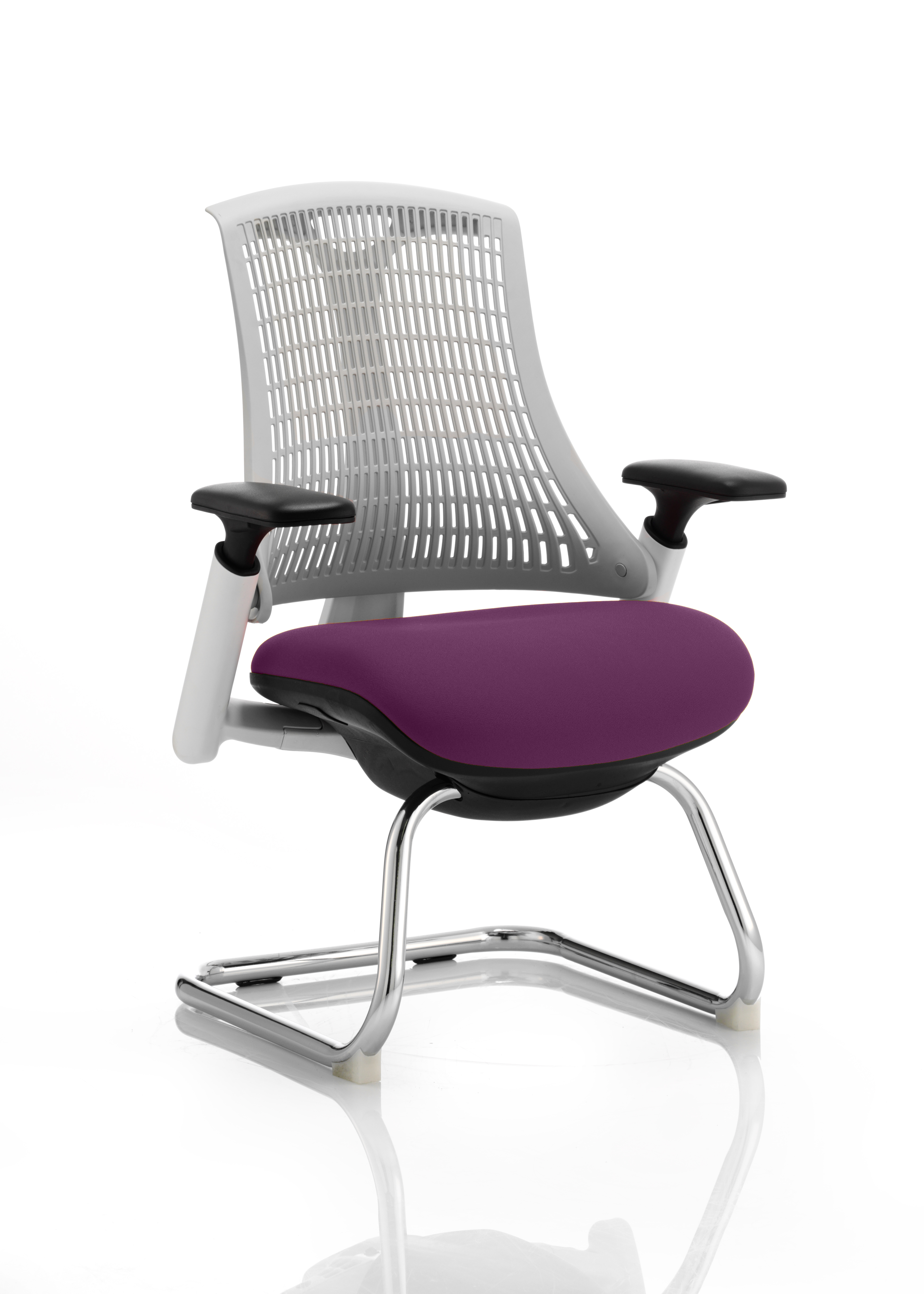 Flex Cantilever Chair White Frame White Back Bespoke Colour Seat Tansy Purple