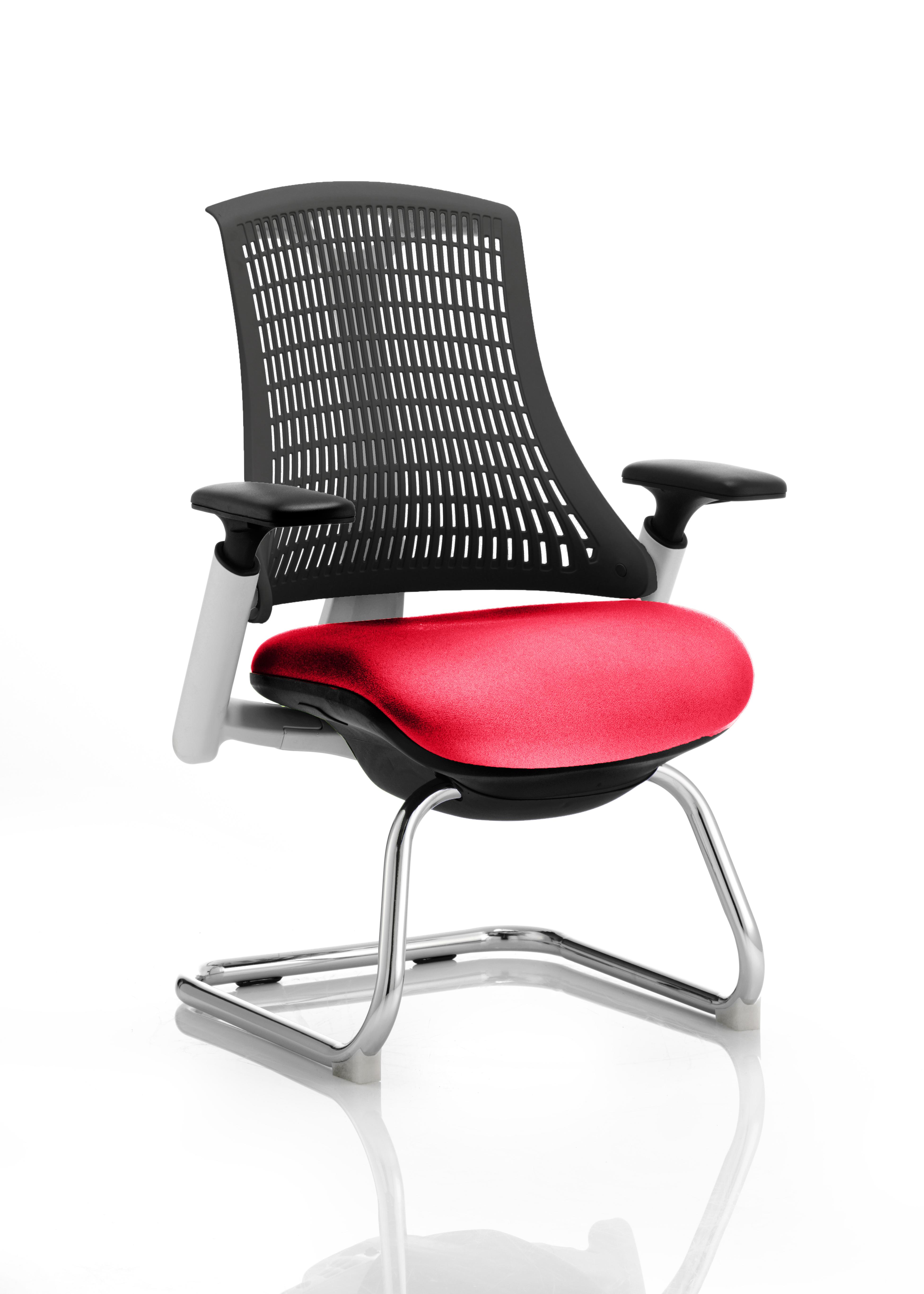 Flex Cantilever Chair White Frame Black Back Bespoke Colour Seat Bergamot Cherry
