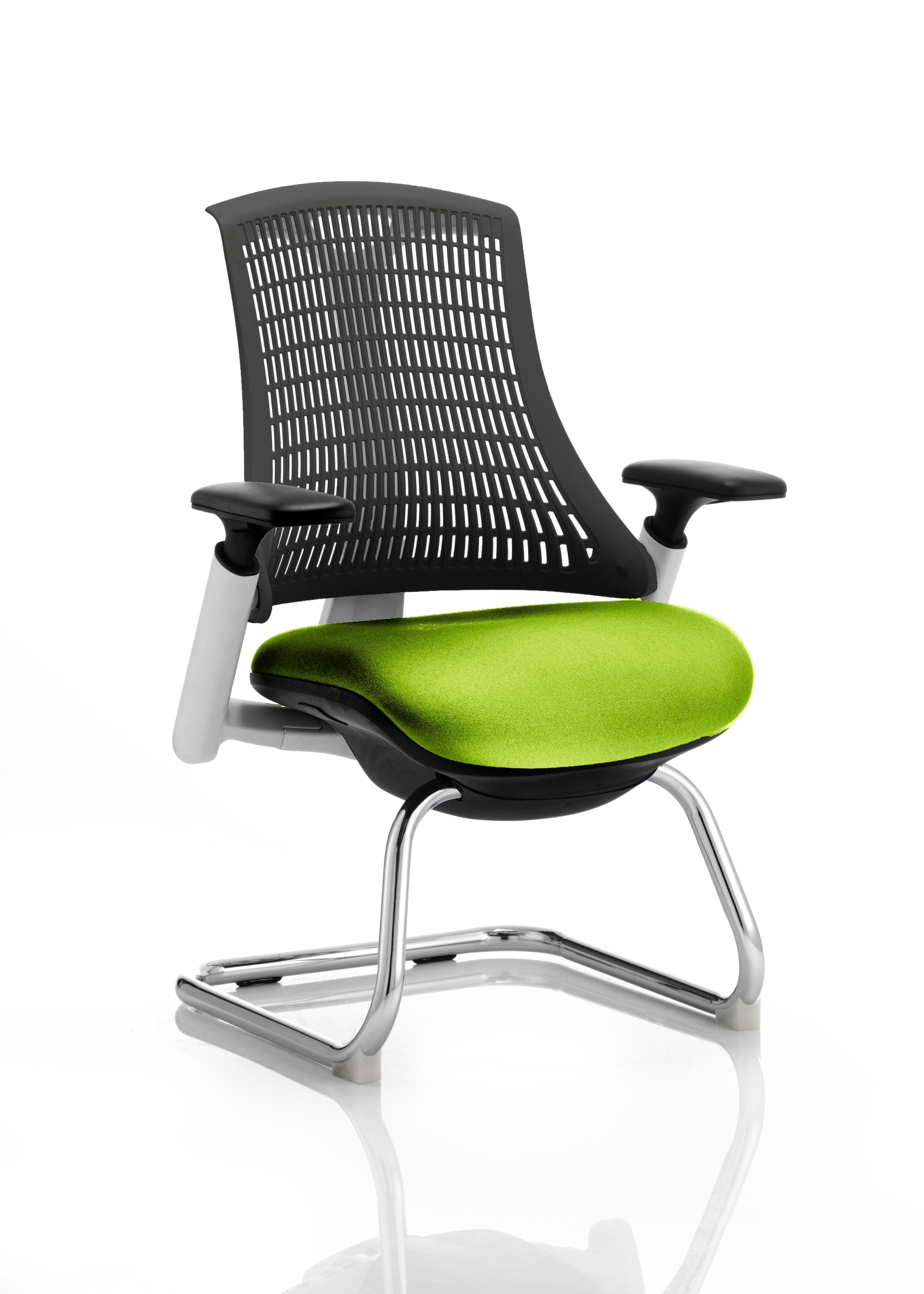 Flex Cantilever Chair White Frame Black Back Bespoke Colour Seat Myrrh Green