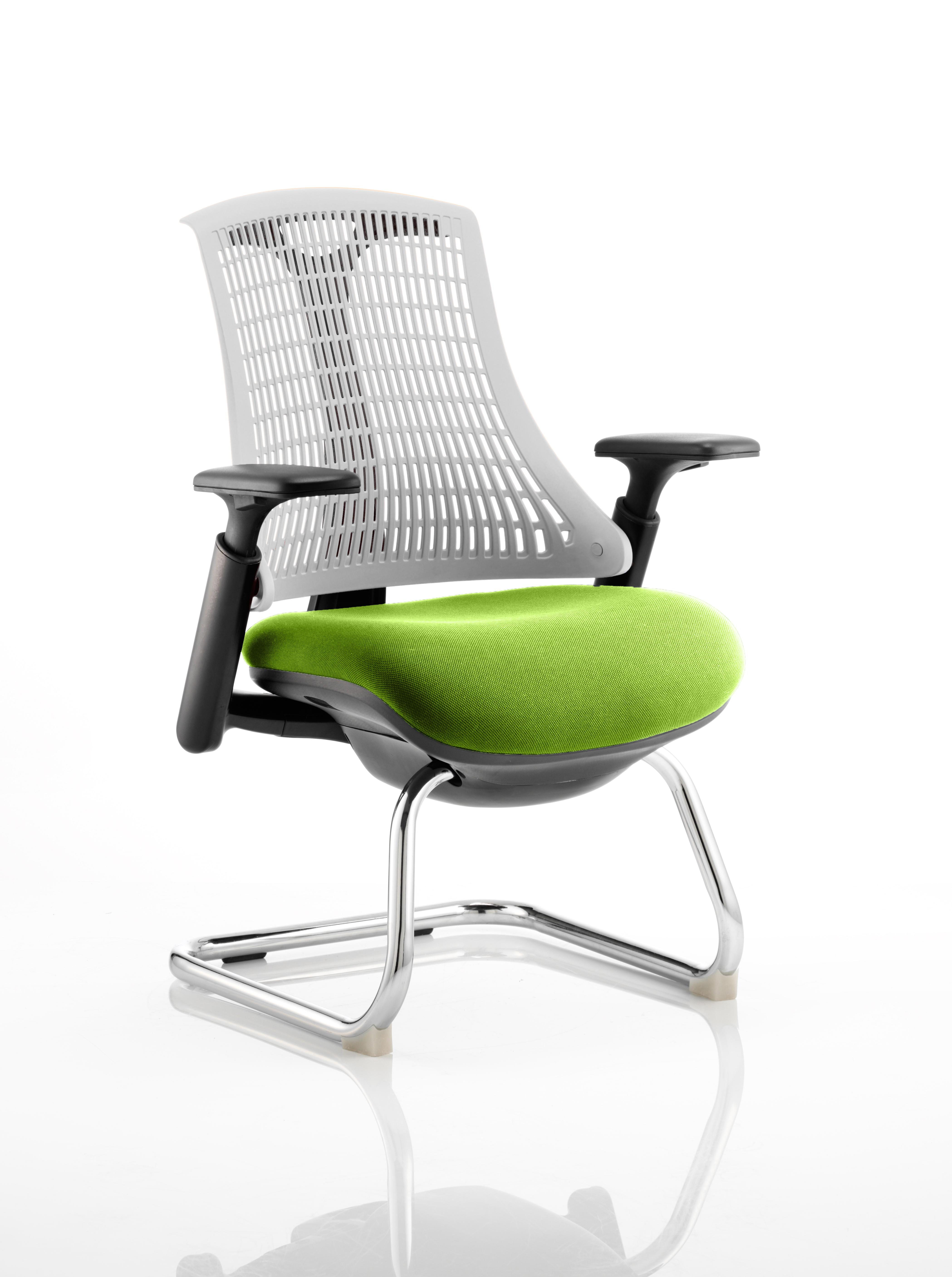 Flex Cantilever Chair Black Frame White Back Bespoke Colour Seat Myrrh Green