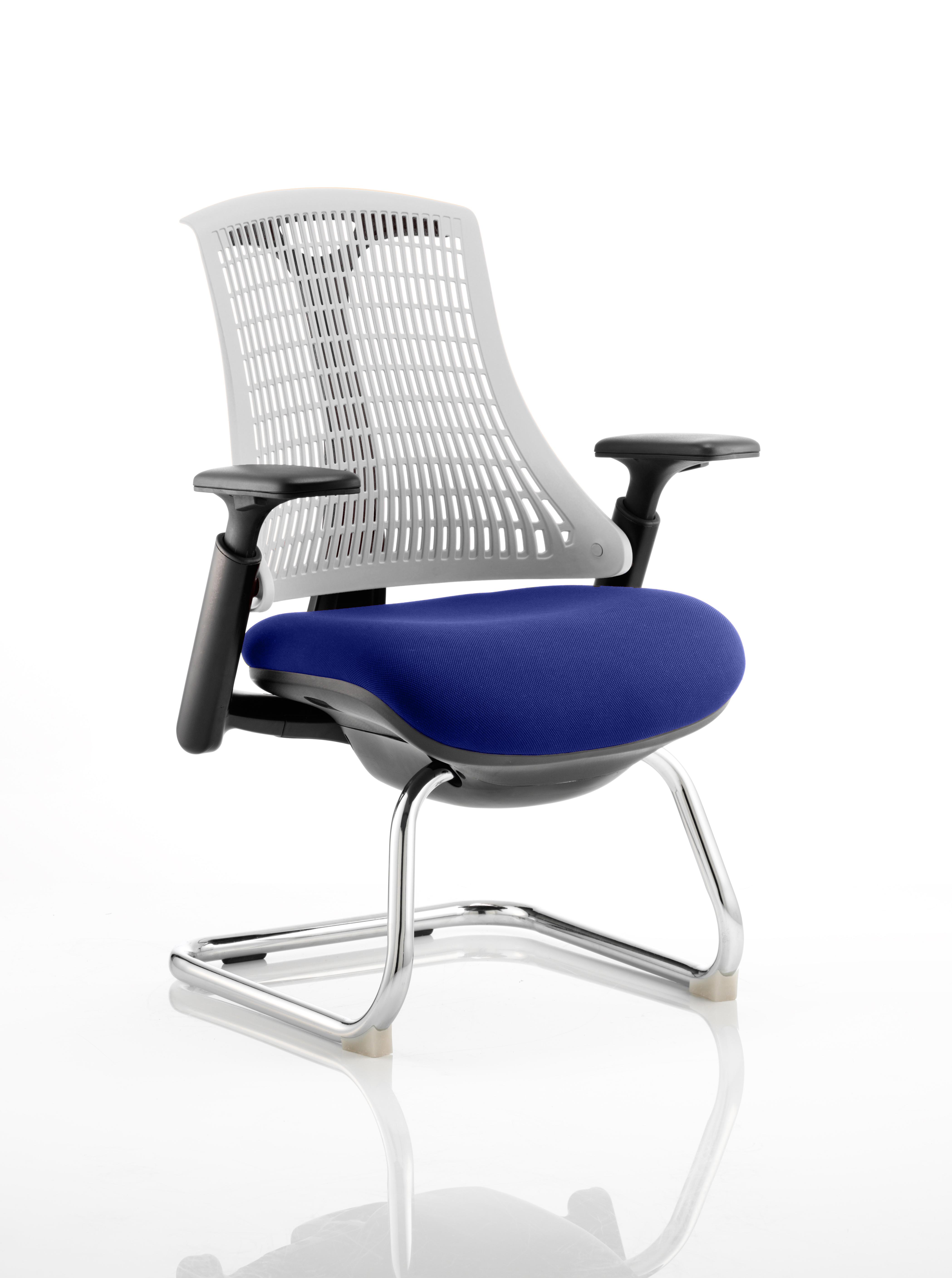Flex Cantilever Chair Black Frame White Back Bespoke Colour Seat Stevia Blue