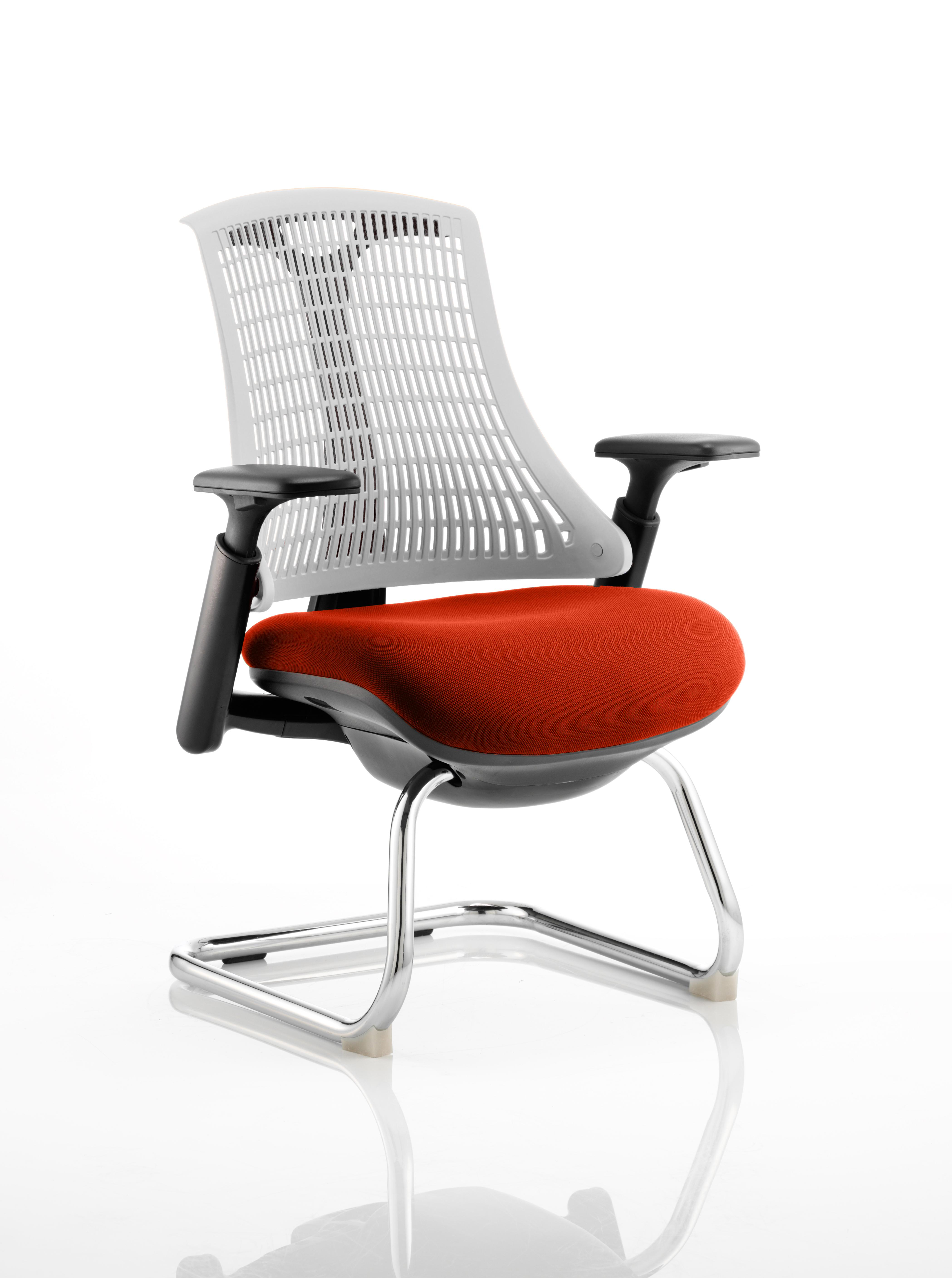 Flex Cantilever Chair Black Frame White Back Bespoke Colour Seat Tabasco Red