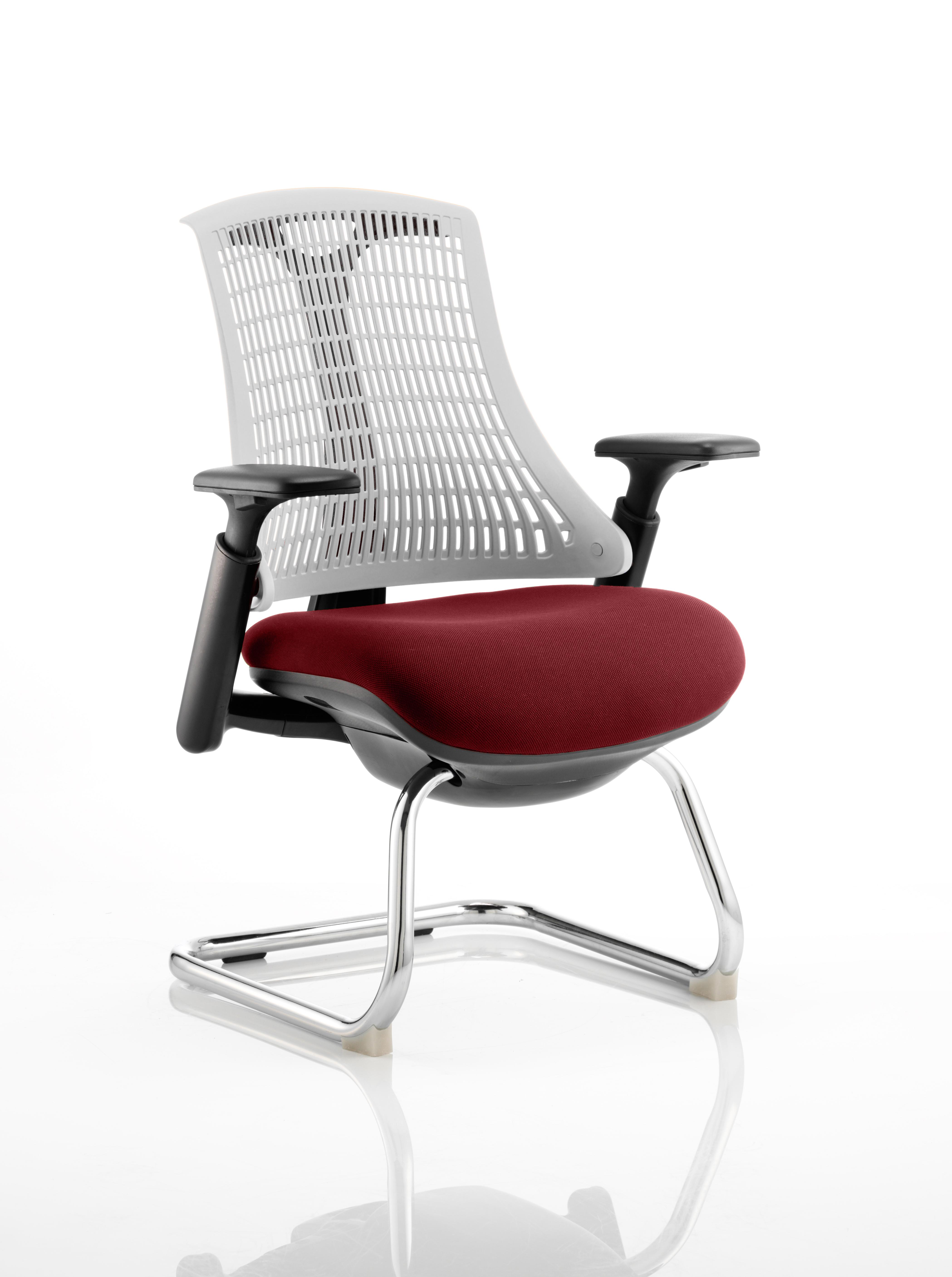 Flex Cantilever Chair Black Frame White Back Bespoke Colour Seat Ginseng Chilli