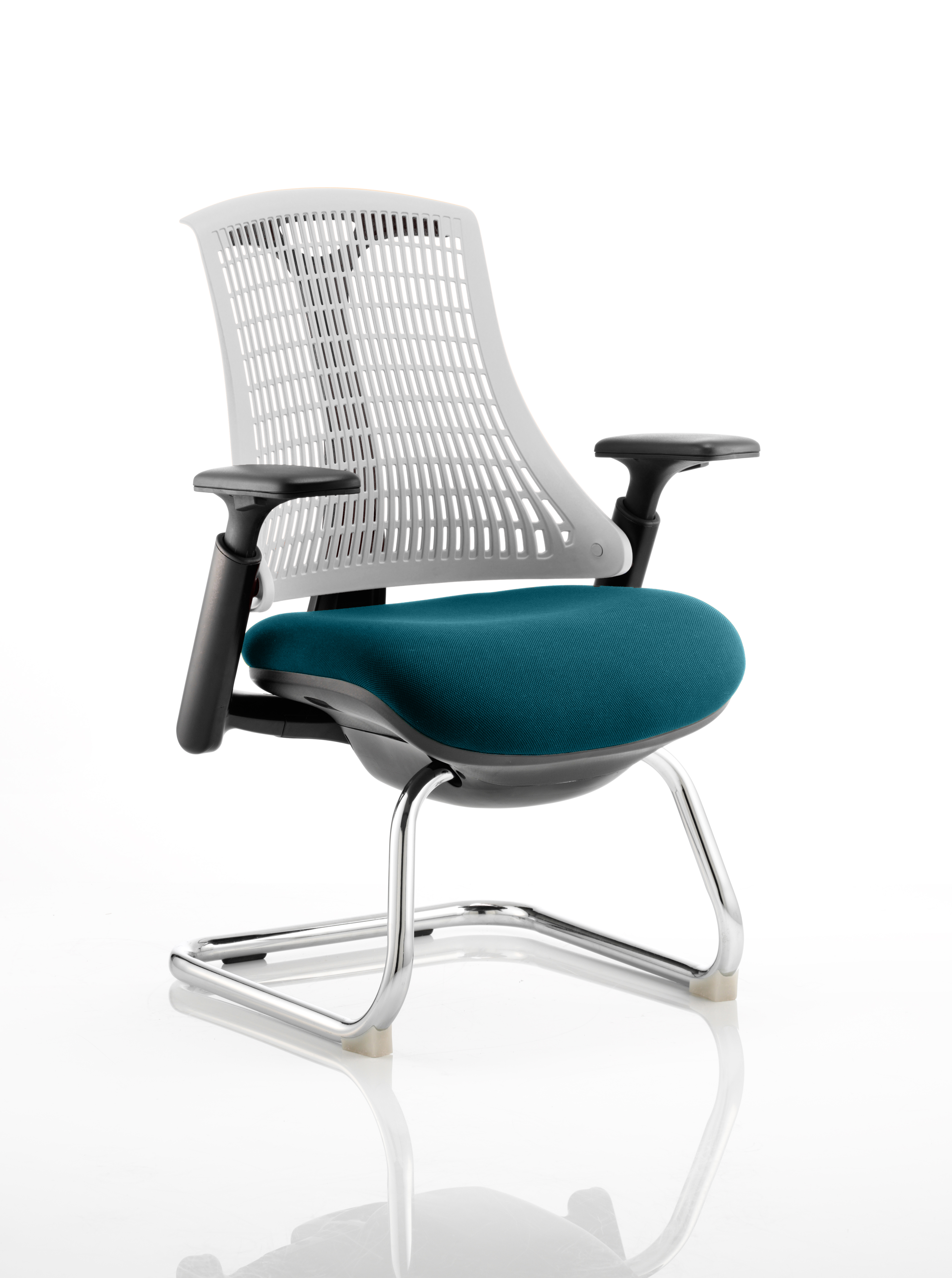 Flex Cantilever Chair Black Frame White Back Bespoke Colour Seat Maringa Teal