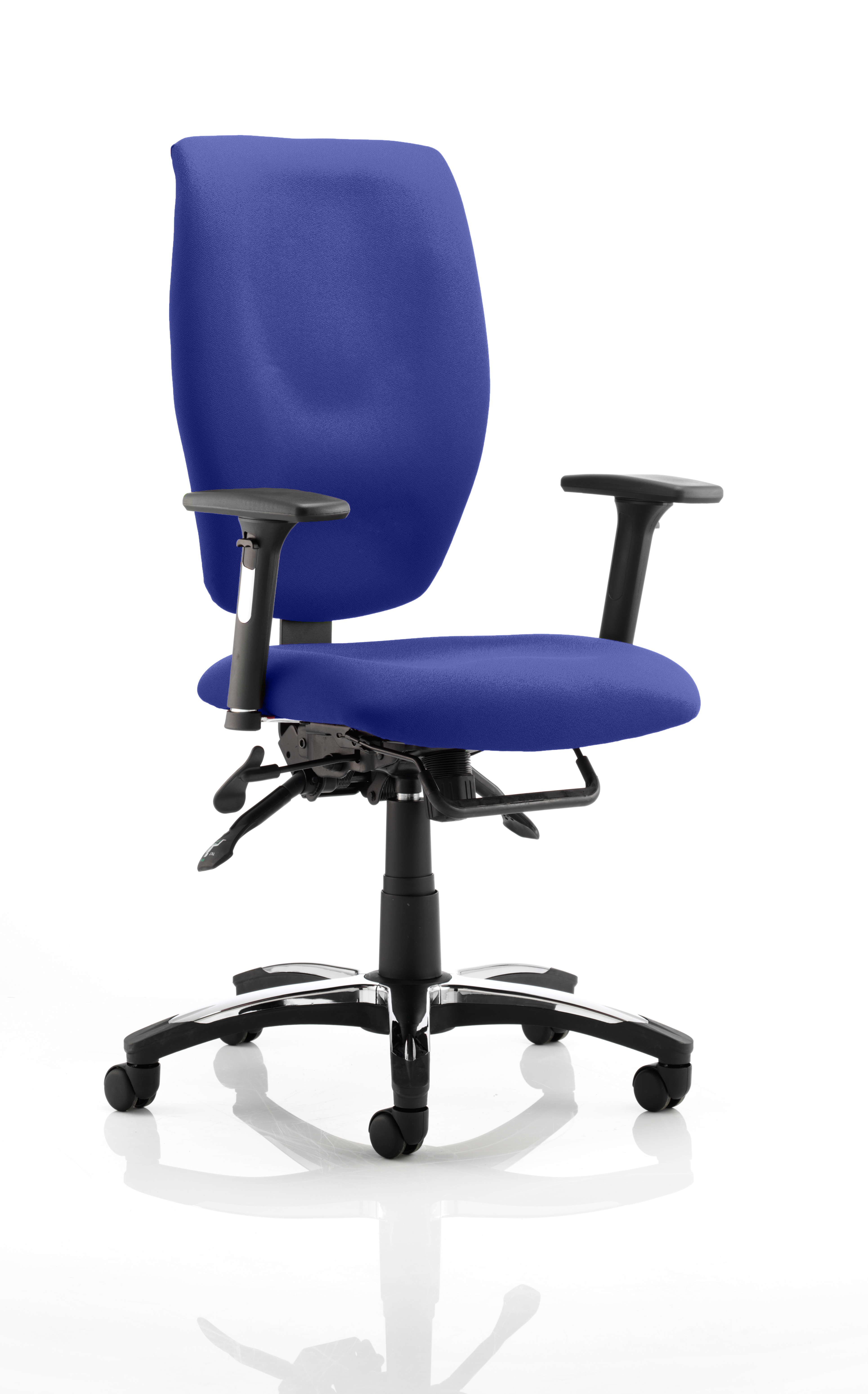 Sierra Executive Chair Black Fabric With Arms In Stevia Blue