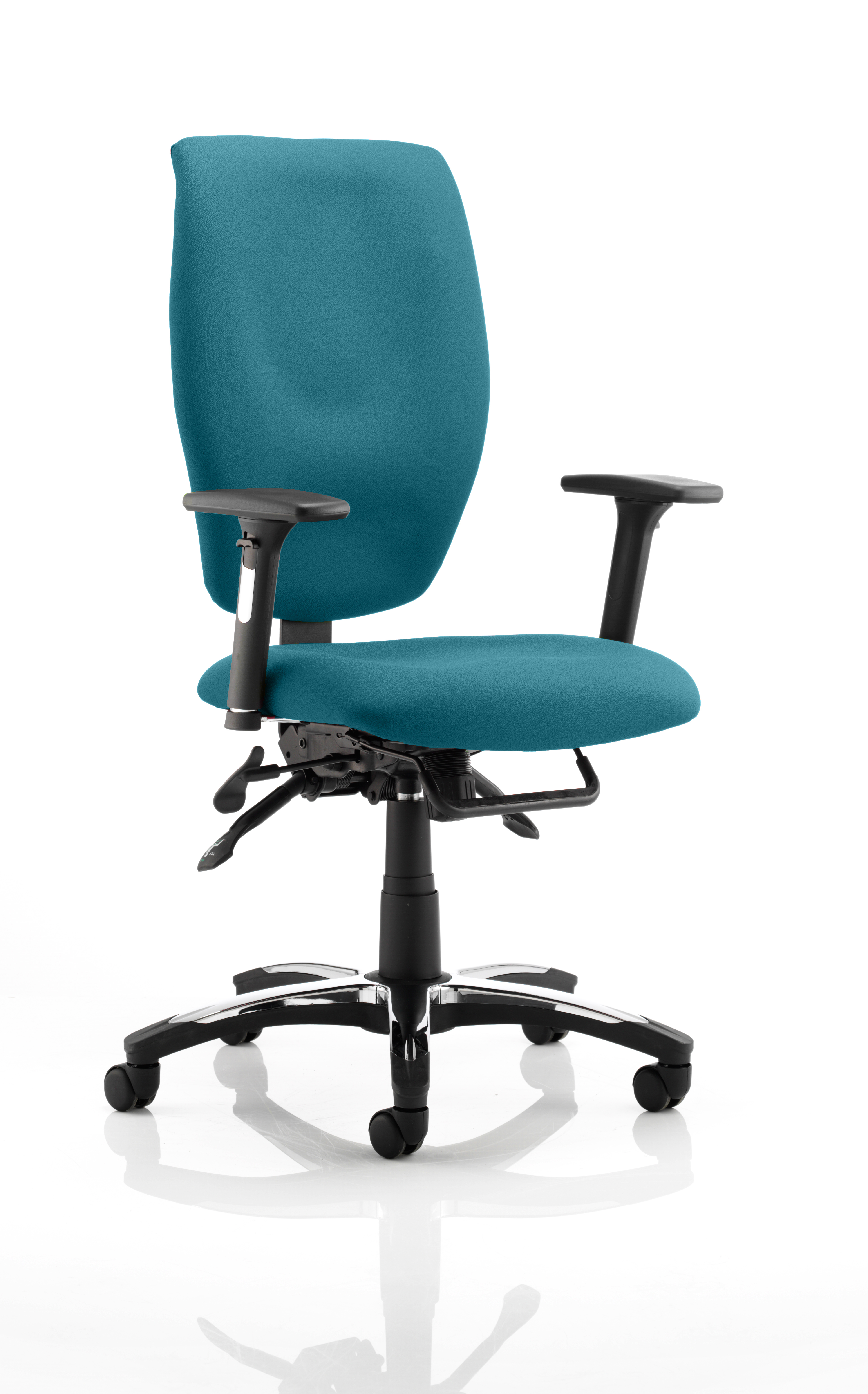 Sierra Executive Chair Black Fabric With Arms In Maringa Teal