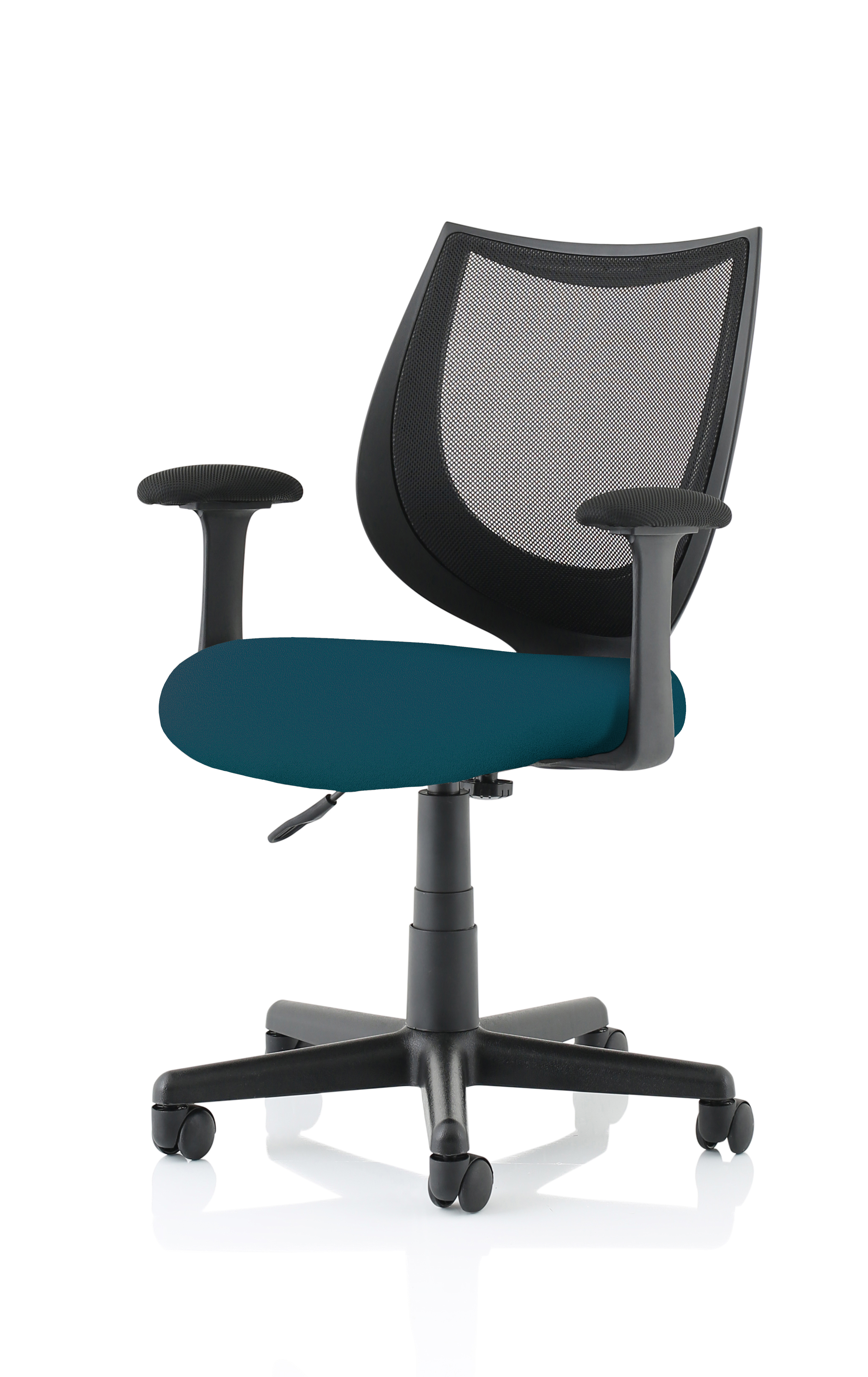 Camden Black Mesh Chair in Maringa Teal
