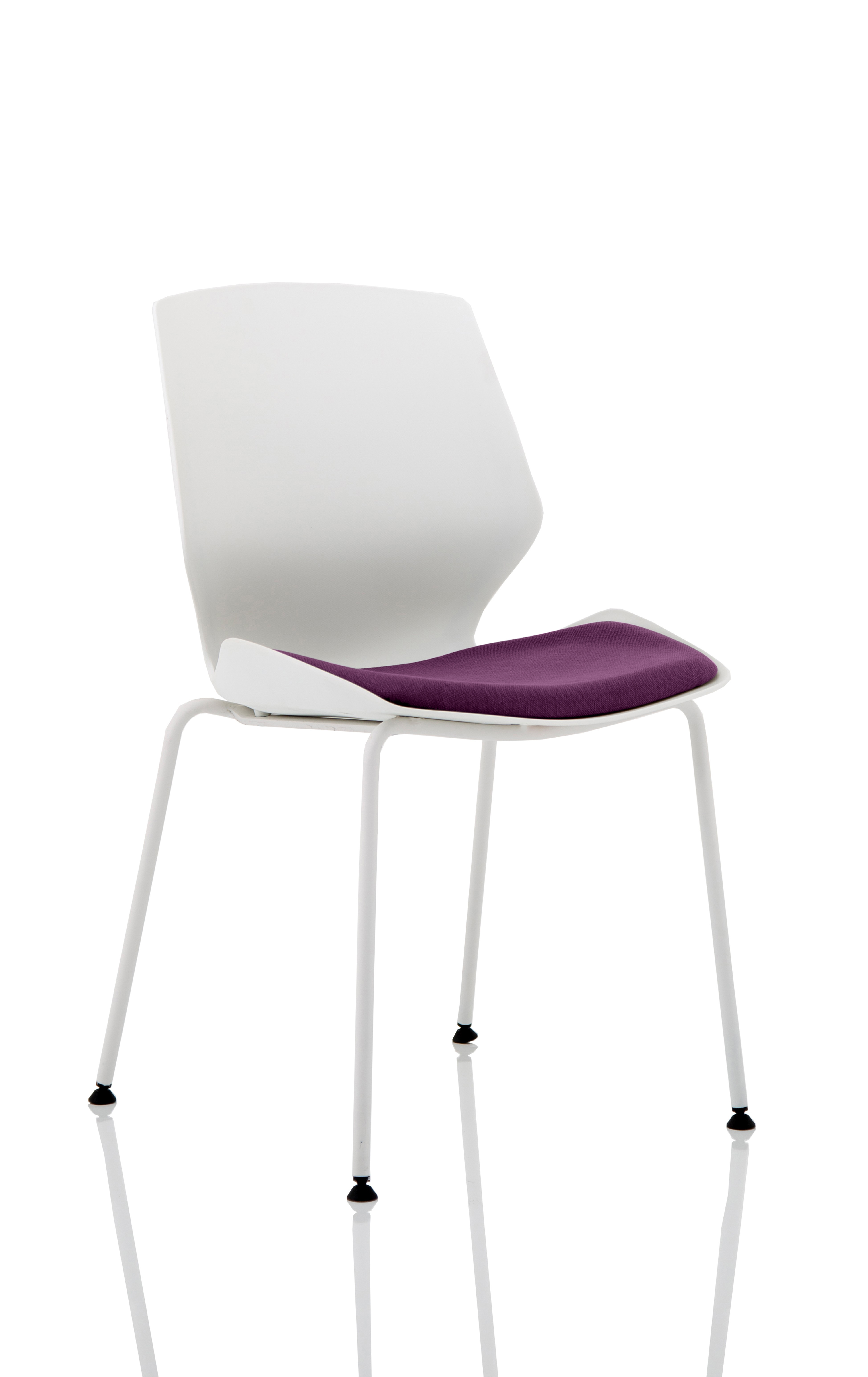 Stacking Chairs Florence White Frame Visitor Chair in Tansy Purple KCUP1537