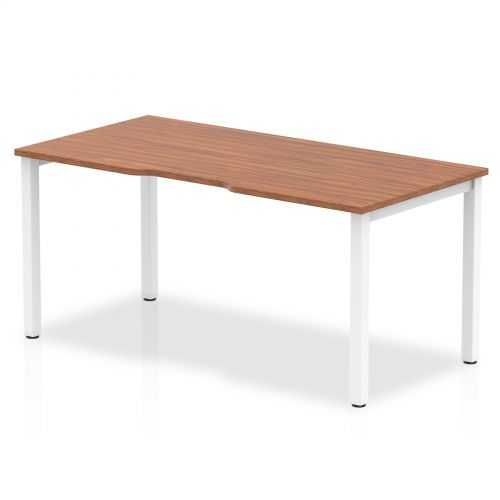 Single White Frame Bench Desk 1600 Walnut