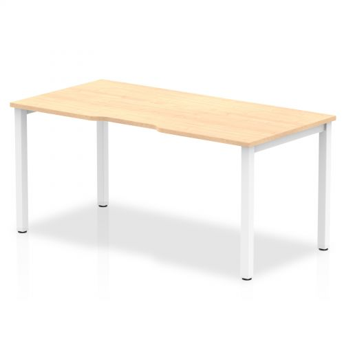 Single White Frame Bench Desk 1600 Maple