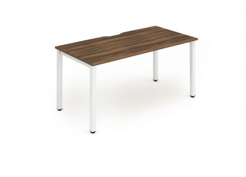 Single White Frame Bench Desk 1400 Walnut