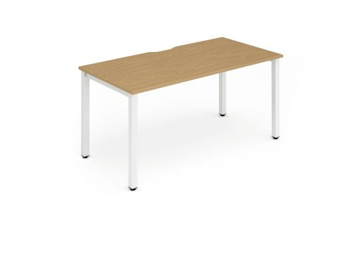 Single White Frame Bench Desk 1400 Oak