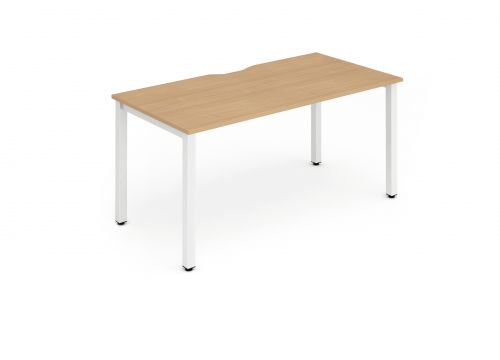 Single White Frame Bench Desk 1200 Beech