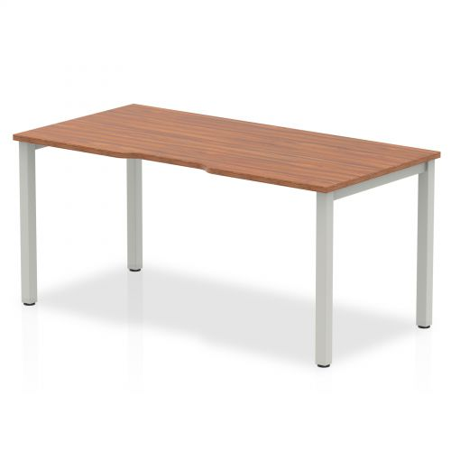 Single Silver Frame Bench Desk 1600 Walnut