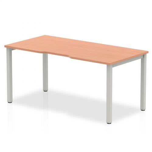 Single Silver Frame Bench Desk 1600 Beech