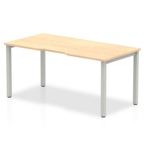 Single Silver Frame Bench Desk 1600 Maple