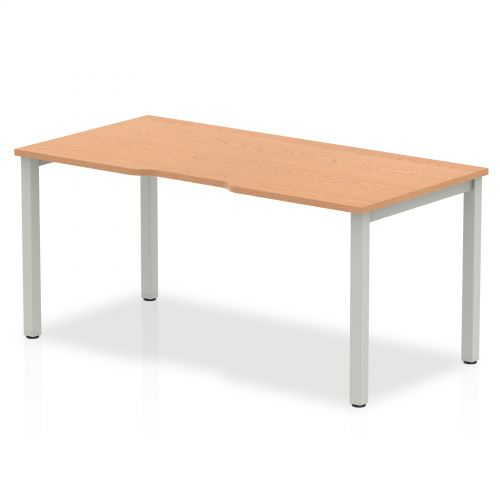 Single Silver Frame Bench Desk 1600 Oak