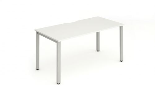 Single Silver Frame Bench Desk 1400 White