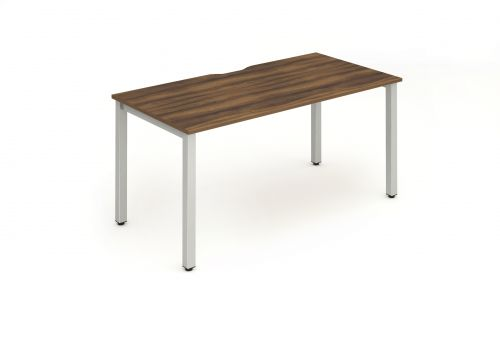 Single Silver Frame Bench Desk 1400 Walnut