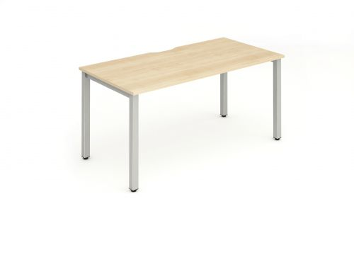Single Silver Frame Bench Desk 1400 Maple