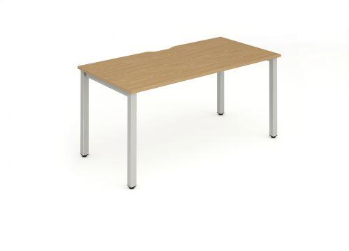 Single Silver Frame Bench Desk 1400 Oak