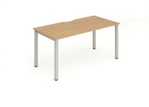 Single Silver Frame Bench Desk 1200 Beech