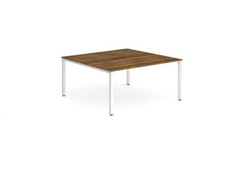 B2B White Frame Bench Desk 1400 Walnut (2 Pod)