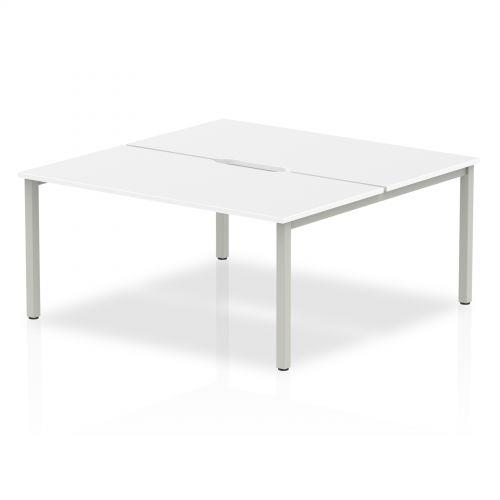 B2B Silver Frame Bench Desk 1600 White (2 Pod)