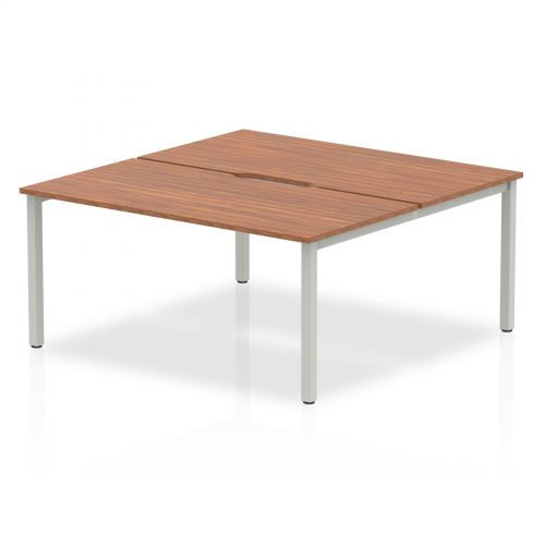 B2B Silver Frame Bench Desk 1600 Walnut (2 Pod)
