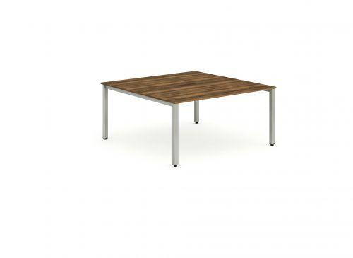 B2B Silver Frame Bench Desk 1400 Walnut (2 Pod)