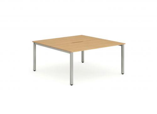 B2B Silver Frame Bench Desk 1200 Beech (2 Pod)