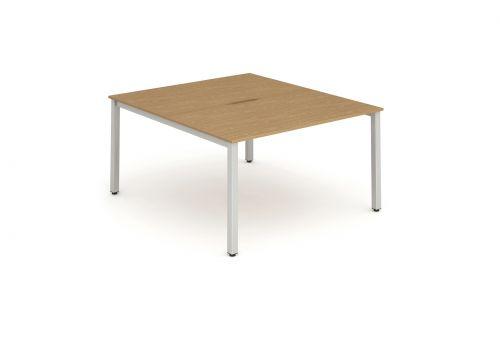 B2B Silver Frame Bench Desk 1200 Oak (2 Pod)