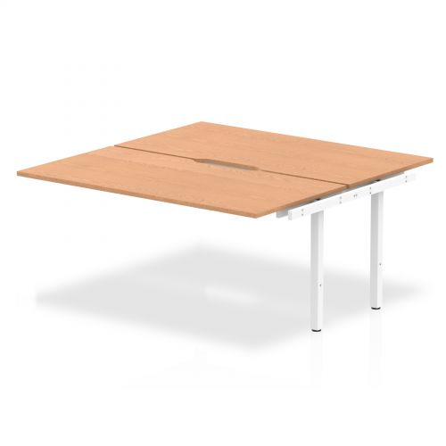 B2B Ext Kit White Frame Bench Desk 1600 Oak