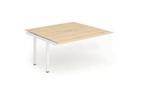 B2B Ext Kit White Frame Bench Desk 1400 Maple