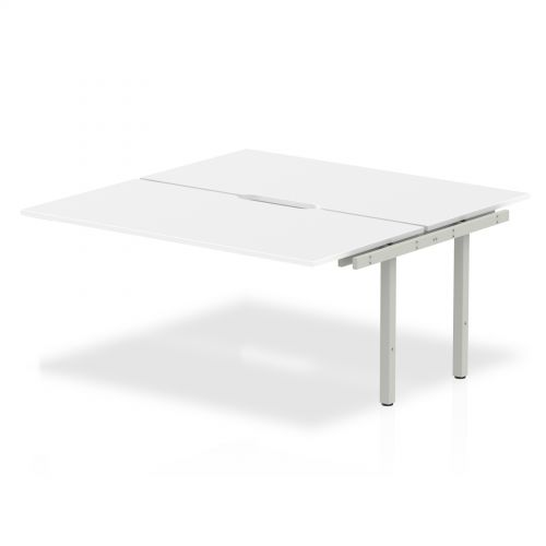 B2B Ext Kit Silver Frame Bench Desk 1600 White