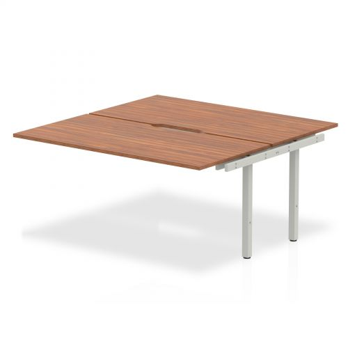 B2B Ext Kit Silver Frame Bench Desk 1600 Walnut