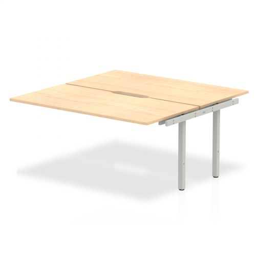 B2B Ext Kit Silver Frame Bench Desk 1600 Maple