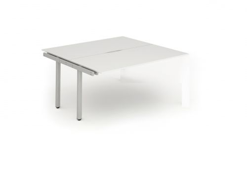 B2B Ext Kit Silver Frame Bench Desk 1200 White