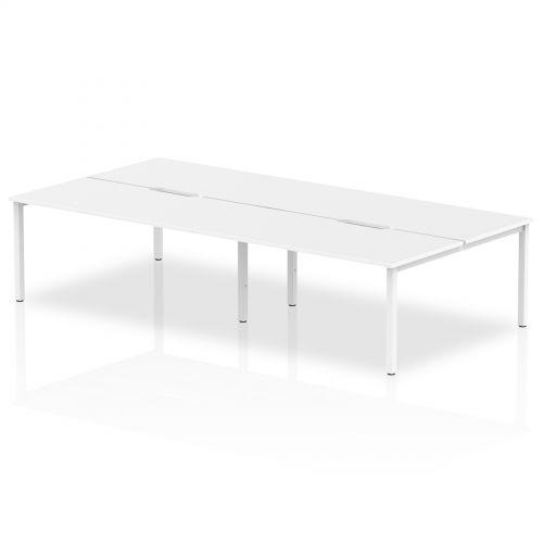 B2B White Frame Bench Desk 1600 White (4 Pod)