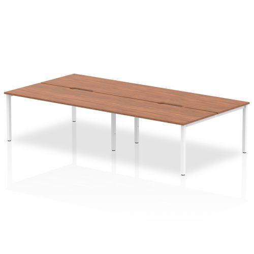 B2B White Frame Bench Desk 1600 Walnut (4 Pod)