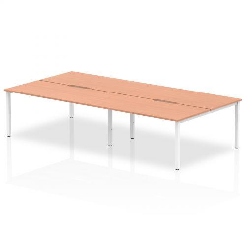 B2B White Frame Bench Desk 1600 Beech (4 Pod)
