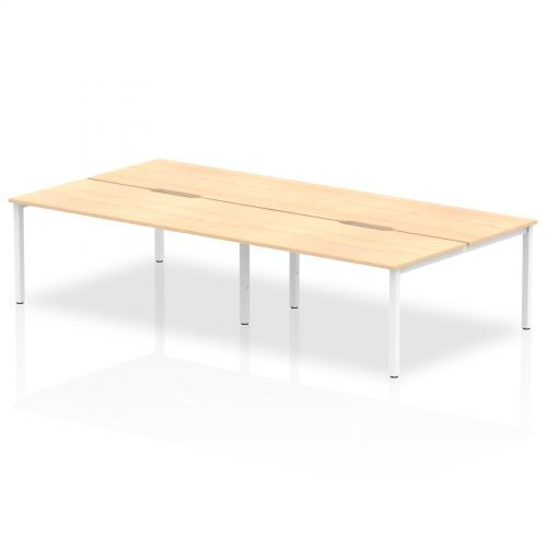 B2B White Frame Bench Desk 1600 Maple (4 Pod)