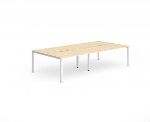 B2B White Frame Bench Desk 1400 Maple (4 Pod)