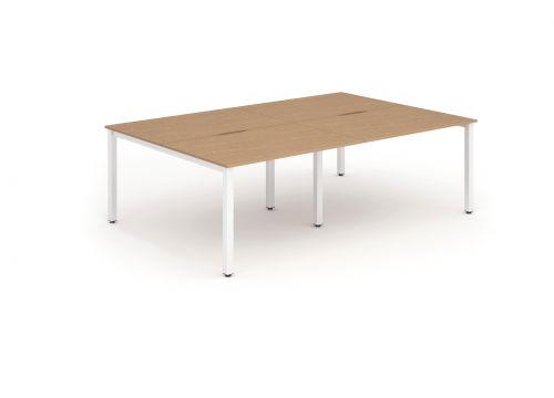 B2B White Frame Bench Desk 1400 Oak (4 Pod)