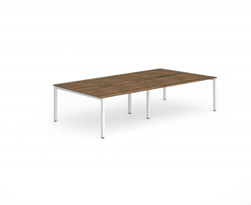 B2B White Frame Bench Desk 1200 Walnut (4 Pod)